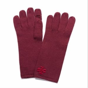 Tory Burch Cordovan Red Gloves